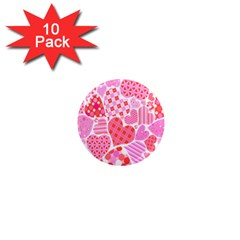 Valentines Day Pink Heart Love 1  Mini Magnet (10 Pack)