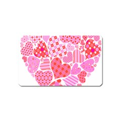 Valentines Day Pink Heart Love Magnet (Name Card)