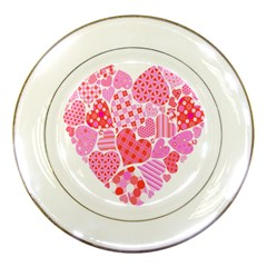 Valentines Day Pink Heart Love Porcelain Plates