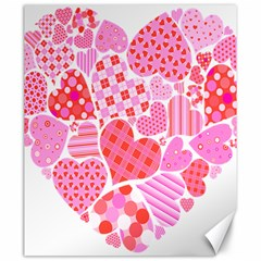 Valentines Day Pink Heart Love Canvas 20  x 24