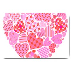 Valentines Day Pink Heart Love Large Doormat