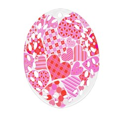 Valentines Day Pink Heart Love Ornament (Oval Filigree)