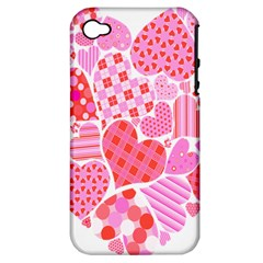 Valentines Day Pink Heart Love Apple Iphone 4/4s Hardshell Case (pc+silicone)