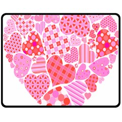 Valentines Day Pink Heart Love Double Sided Fleece Blanket (Medium)