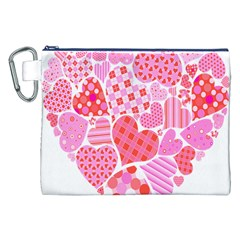 Valentines Day Pink Heart Love Canvas Cosmetic Bag (XXL)