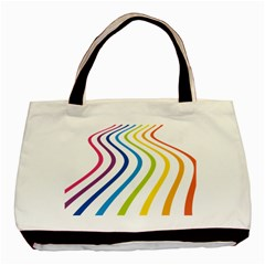 Wave Rainbow Basic Tote Bag (two Sides)