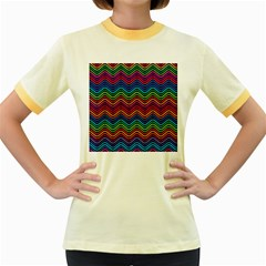 Wave Chevron Rainbow Color Women s Fitted Ringer T Shirts