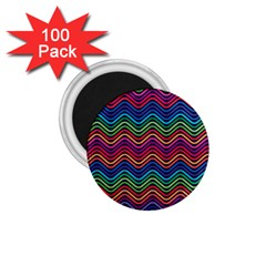 Wave Chevron Rainbow Color 1 75  Magnets (100 Pack)