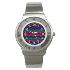 Wave Chevron Rainbow Color Stainless Steel Watch