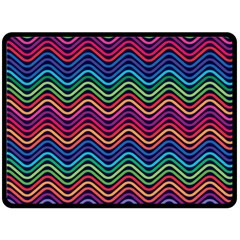 Wave Chevron Rainbow Color Fleece Blanket (large)
