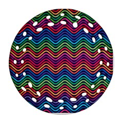 Wave Chevron Rainbow Color Round Filigree Ornament (Two Sides)