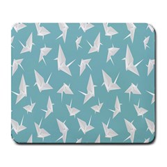 Origamim Paper Bird Blue Fly Large Mousepads