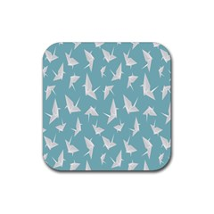 Origamim Paper Bird Blue Fly Rubber Square Coaster (4 Pack)