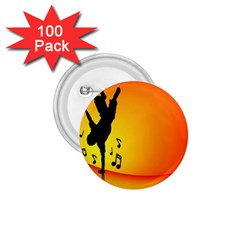 Breakdancer Dancing Orange 1.75  Buttons (100 pack)