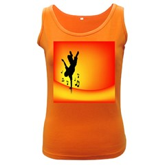Breakdancer Dancing Orange Women s Dark Tank Top