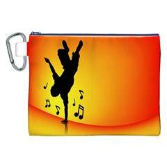 Breakdancer Dancing Orange Canvas Cosmetic Bag (XXL)