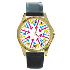 Arrows Pink Blue Orange Green Round Gold Metal Watch
