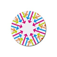 Arrows Pink Blue Orange Green Rubber Round Coaster (4 Pack)
