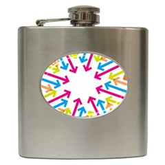 Arrows Pink Blue Orange Green Hip Flask (6 Oz)