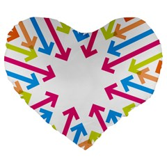Arrows Pink Blue Orange Green Large 19  Premium Heart Shape Cushions