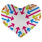 Arrows Pink Blue Orange Green Large 19  Premium Heart Shape Cushions Back