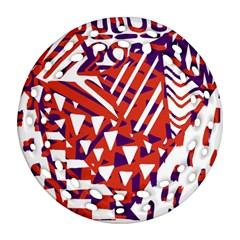 Bright  Memphis Purple Triangle Round Filigree Ornament (Two Sides)