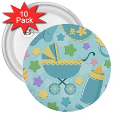 Baby Stroller Star Blue 3  Buttons (10 pack)