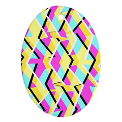 Bright Zig Zag Scribble Yellow Pink Ornament (Oval)