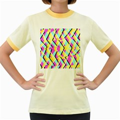 Bright Zig Zag Scribble Yellow Pink Women s Fitted Ringer T-Shirts