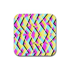 Bright Zig Zag Scribble Yellow Pink Rubber Square Coaster (4 Pack)