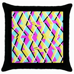Bright Zig Zag Scribble Yellow Pink Throw Pillow Case (Black)