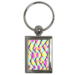 Bright Zig Zag Scribble Yellow Pink Key Chains (Rectangle)