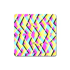 Bright Zig Zag Scribble Yellow Pink Square Magnet