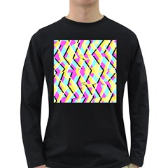 Bright Zig Zag Scribble Yellow Pink Long Sleeve Dark T-Shirts