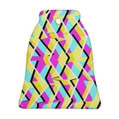 Bright Zig Zag Scribble Yellow Pink Ornament (Bell)