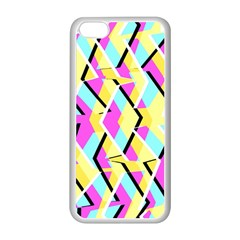 Bright Zig Zag Scribble Yellow Pink Apple Iphone 5c Seamless Case (white)