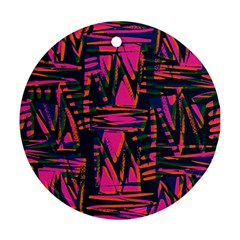 Bright Zig Zag Scribble Pink Green Ornament (round)