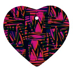Bright Zig Zag Scribble Pink Green Ornament (Heart)
