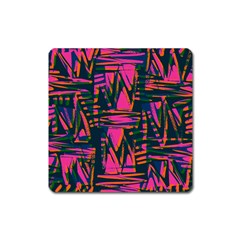 Bright Zig Zag Scribble Pink Green Square Magnet