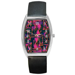 Bright Zig Zag Scribble Pink Green Barrel Style Metal Watch