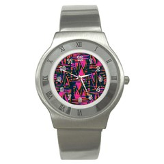 Bright Zig Zag Scribble Pink Green Stainless Steel Watch