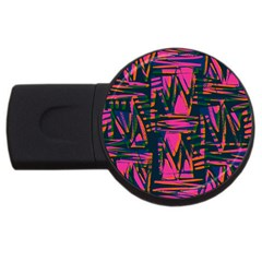 Bright Zig Zag Scribble Pink Green Usb Flash Drive Round (4 Gb)