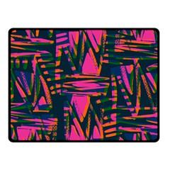 Bright Zig Zag Scribble Pink Green Fleece Blanket (Small)