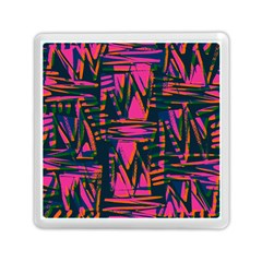 Bright Zig Zag Scribble Pink Green Memory Card Reader (Square)
