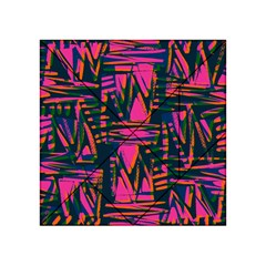 Bright Zig Zag Scribble Pink Green Acrylic Tangram Puzzle (4  X 4 )