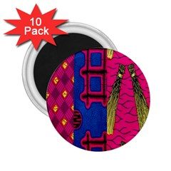 Broom Stick Gold Yellow Pink Blue Plaid 2.25  Magnets (10 pack)