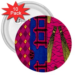 Broom Stick Gold Yellow Pink Blue Plaid 3  Buttons (10 Pack)