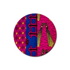 Broom Stick Gold Yellow Pink Blue Plaid Rubber Round Coaster (4 Pack)
