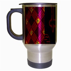 Broom Stick Gold Yellow Pink Blue Plaid Travel Mug (silver Gray)