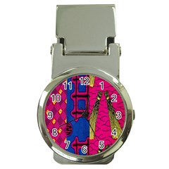 Broom Stick Gold Yellow Pink Blue Plaid Money Clip Watches